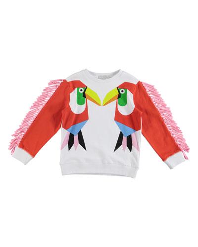Toucans Fringed Sweatshirt, Size 4-14