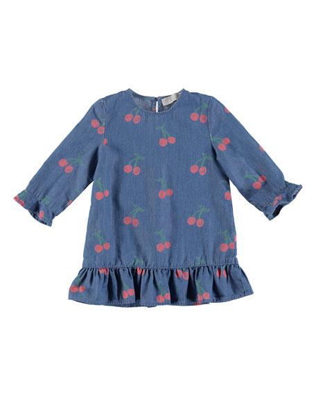 Stella McCartney Kids Chambray Long-Sleeve Cherry-Print Dress,