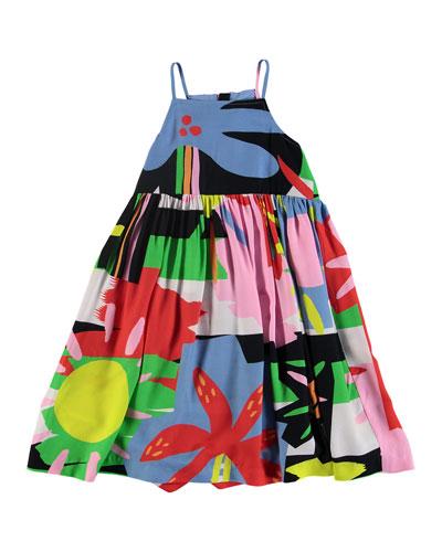 Sleeveless Abstract Palm Print Dress, Size 4-14