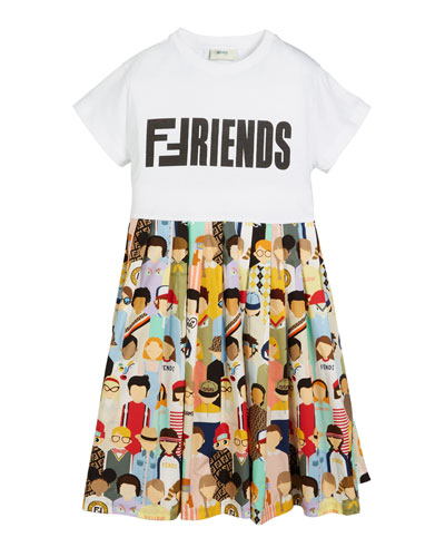 Friends-Print Accordion-Pleated Dress, Size 3-5