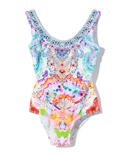 Watercolor-Print One-Piece Swimsuit, Size 4-10
