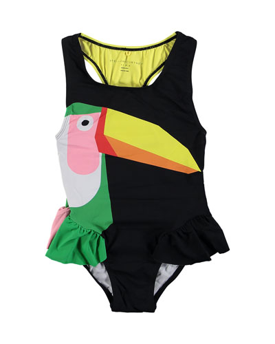 Toucan One-Piece Swimsuit, Size 4-14