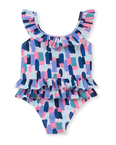brush stroke-print ruffle one-piece swimsuit, size 12-24 months