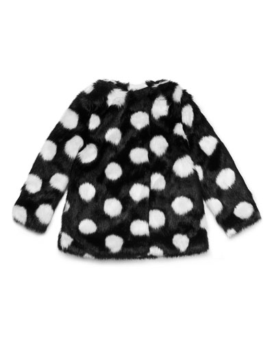 polka-dot faux-fur coat, size 7-14