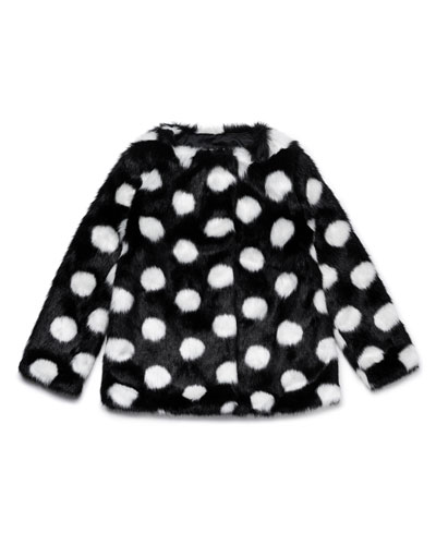 polka-dot faux-fur coat, size 12-24 months
