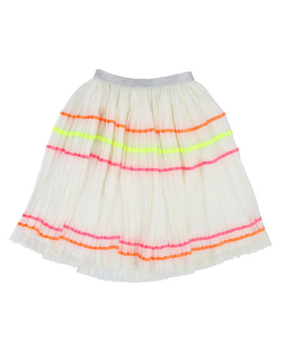 Accordion-Pleated Long Tulle Skirt w/ Rainbow Taping  Size 4-12
