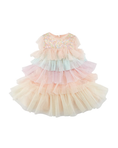 Layered Multicolored Tulle Dress  Size 12M-3