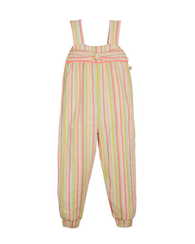 Striped Sleeveless Jumpsuit w/ Bow Detail  Size 4-12