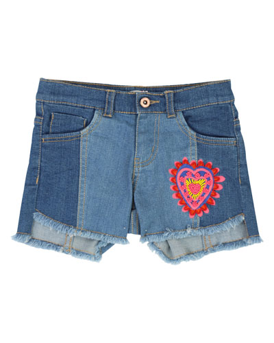 Two-Tone Raw-Hem Denim Shorts w/ Heart Patch, Size 4-12