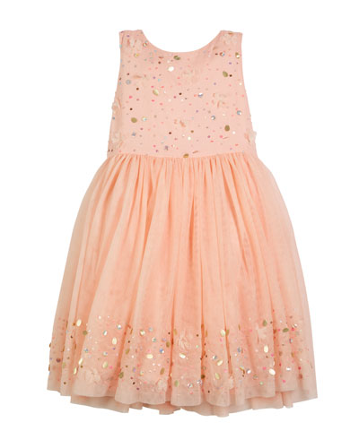 Sequin Embroidered Tulle Dress  Size 4-12