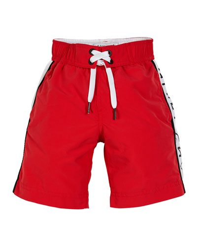 Logo-Sides Swim Trunks, Size 12-14