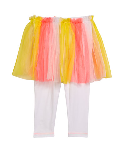 Leggings w/ Attached Multicolored Tulle Skirt  Size 12M-3