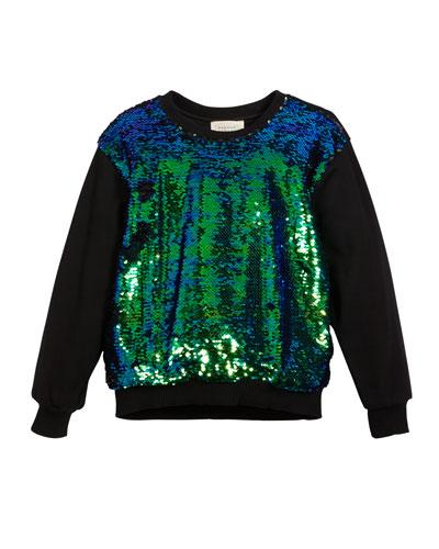 Sequin-Front Sweatshirt, Size 7-14