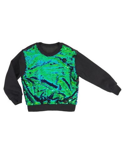 Sequin-Front Sweatshirt, Size 4-6