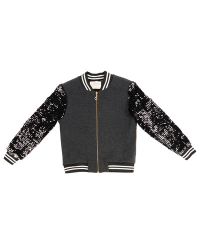Sequin-Sleeve Bomber Jacket, Size 7-14