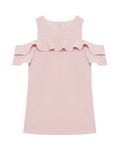 Tilvie Ruffle-Trim Cold-Shoulder Shift Dress, Size 8-16