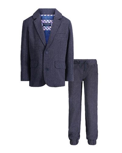 Suit Blazer w/ Matching Jogger Pants, Size 2-7
