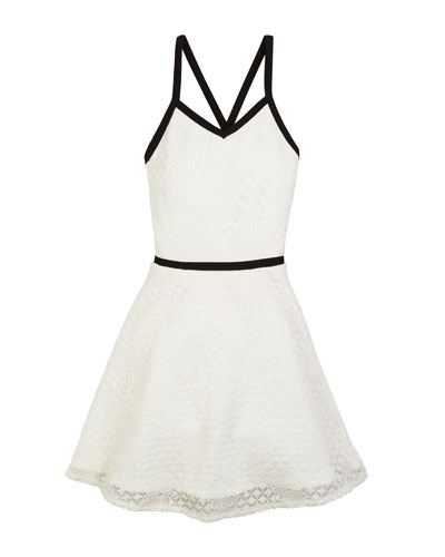 The Audrey Floral Lace Contrast-Trim Dress  Size S-XL