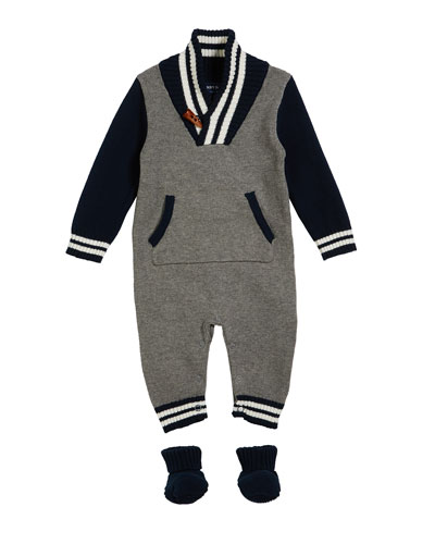 Toggle Sweater Coverall w/ Matching Booties, Size 0-24 Months