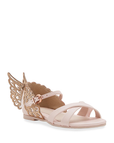 Evangeline Glittered Butterfly-Wing Leather Sandals  Toddler/Kids
