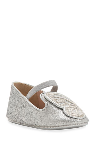 Sophia Webster Bibi Butterfly Glittered Flats, Baby