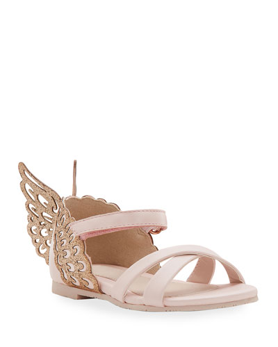Evangeline Glittered Butterfly-Wing Leather Sandals  Toddler