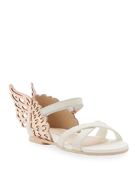 Sophia Webster Evangeline Metallic Butterfly-wing Leather Sandals, Toddler/kids In White