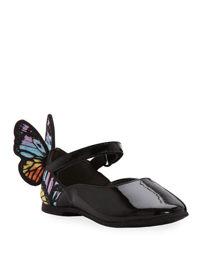 Chiara Patent Leather Embroidered Butterfly-Wing Flats  Toddler