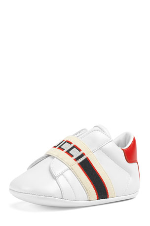 Gucci New Ace Gucci Band Leather Sneakers, Baby/Toddler
