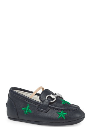 Gucci Jordan Bee & Star Embroidered Leather Loafers, Baby/Toddler