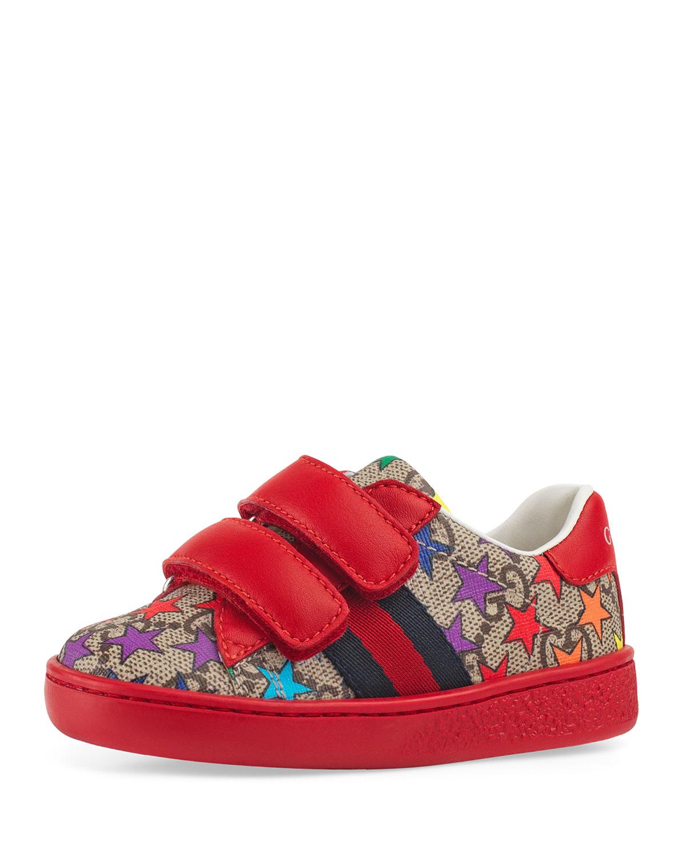 56c7f31b56e Gucci New Ace GG Supreme Rainbow Star-Print Sneakers