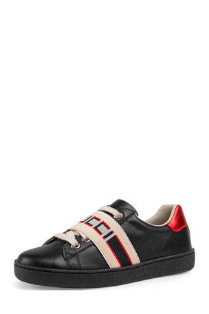 Gucci New Ace Gucci Band Leather Sneaker, Toddler/Kids