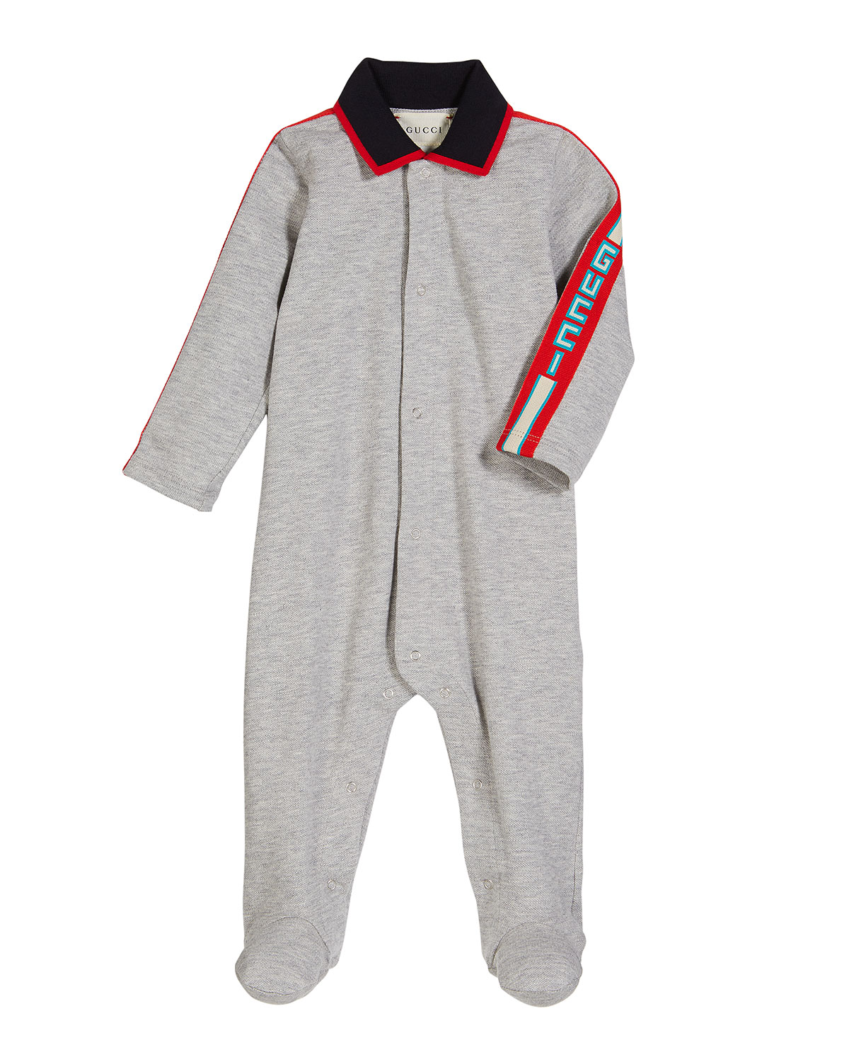 dbd24cc84c8 Gucci Collared Footie Pajamas w  Logo Taping