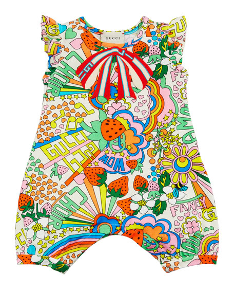 Gucci Mixed Logo Print Playsuit, Size 3-24 Months