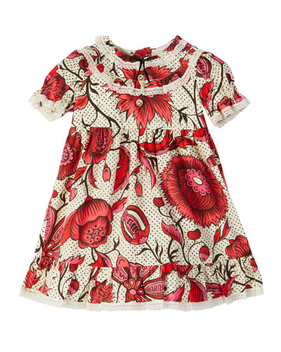 Floral Lace-Trim Puffy-Sleeve Dress  Size 6-36 Months