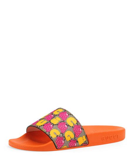 Gucci Strawberry-Print GG Supreme Slide Sandals, Toddler/Kids