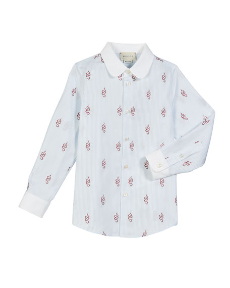 Gucci Striped Snake Collared Button-Down Shirt, Size 4-12