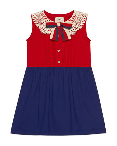 Two-Tone Pintucked Dress w/ Lace Collar & Sylvie Web Bow  Size 4-12