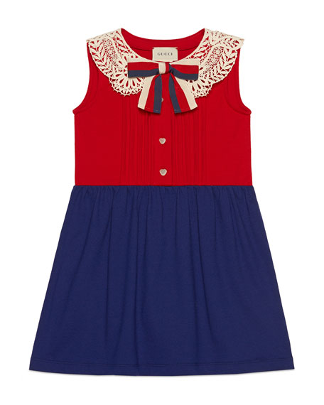 Two-Tone Pintucked Dress w/ Lace Collar & Sylvie Web Bow, Size 4-12