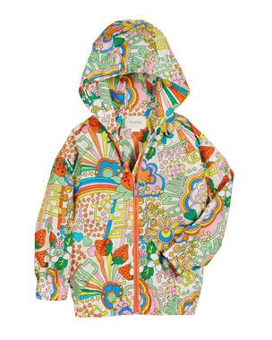 a39110fec Gucci Rainbow Pop Print Hooded Nylon Jacket, Size 4-12