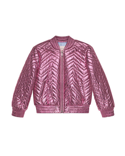 Chevron Quilted Metallic Leather Bomber Jacket  Size 4-6