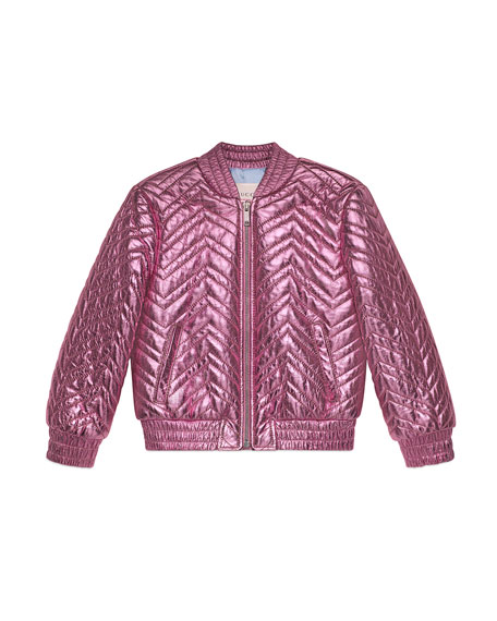 Gucci Chevron Quilted Metallic Leather Bomber Jacket, Size