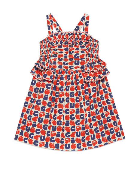 Gucci Poplin Logo Fruit-Print Ruched Dress, Size 4-12