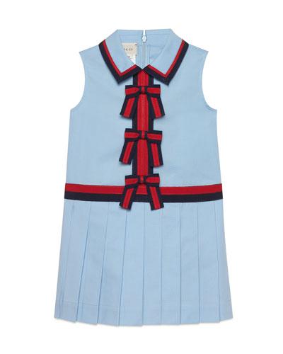 Sleeveless Web-Trim Bow Dress, Size 4-12