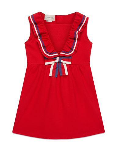 Sylvie Web-Trim Piquet Dress  Size 4-12