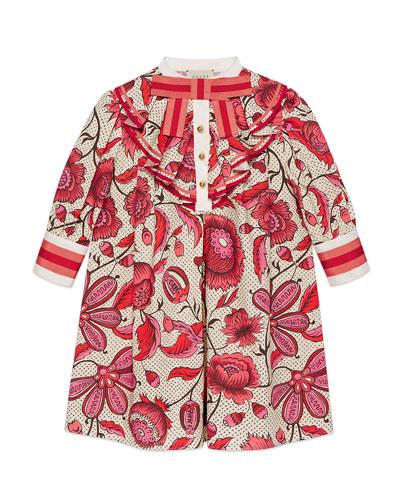 Poplin Floral Ruffle-Trim Dress  Size 4-12