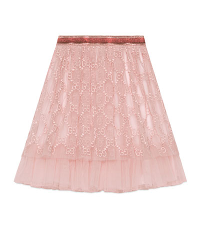 GG Supreme Embroidered Tulle Skirt, Size 4-12