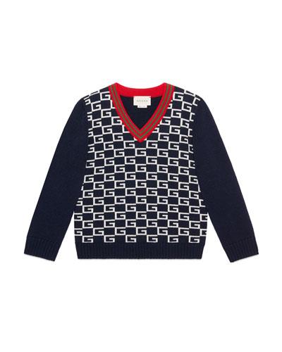Logo Jacquard Wool V-Neck Sweater  Size 4-12