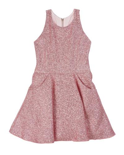 Danica Metallic Jacquard Pocket Swing Dress, Size 7-16