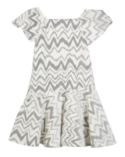 Kenzie Flocked Knit Zigzag Dress, Size 4-6X